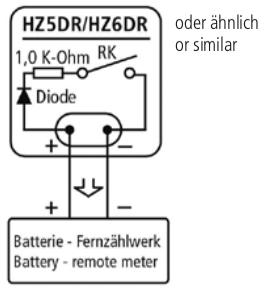 Anschluss an aktiven Eingang z.B.: Batteriezählwerk
