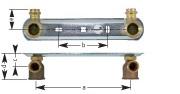 Construction dimensions AP for twin-pipe gasmeters: