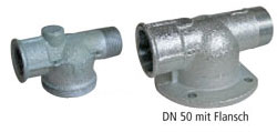 Gas meter connector with straight passage